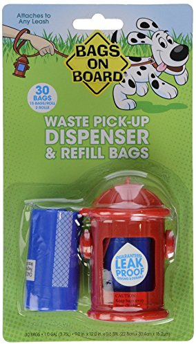 Price comparison product image Bags on Board Fire Hydrant Style Dog Waste Bag Dispenser with 30 Refill Bags
