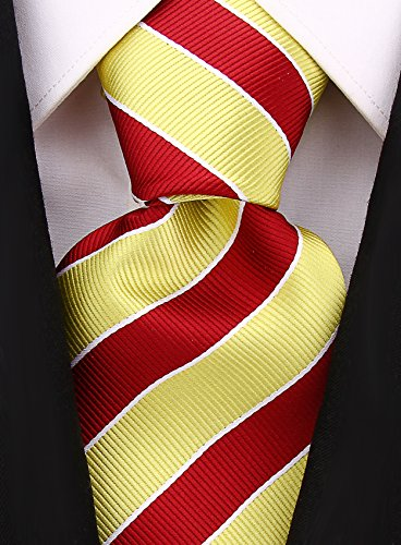 - College Striped Ties for Men - Woven Necktie - Gold w/Maroon