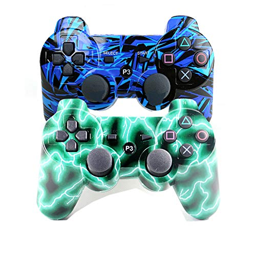 [2 Pack] Remote Bluetooth Controller for Playstation 3, Wireless Sixaxis Double Vibration Gamepad for PS3 (Include USB Charging Cable (Blue + Green)