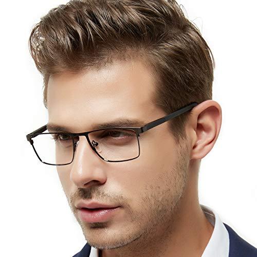 7cbe6fa1040 OCCI CHIARI Mens Rectangle Full-Rim Metal Black Non-Prescription Clear  Optical Glasses