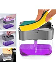 Dish Soap Dispenser, 13 Ounce Countertop Liquid Soap Pump Dispenser 2 in1 Soap Dispensers Sponge Holder for Kitchen Sink Bathroom