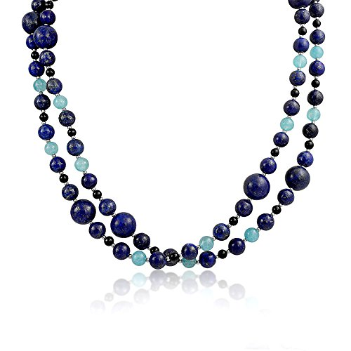 - Bling Jewelry Blue Shades Aqua Quartz Blue Lapis Black Onyx Gemstone Ball Bead Strand Pendant Long Warp Layer Necklace for Women 40 in