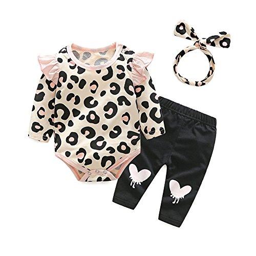 Cotton Leopard Legging Set (Tem Doger 3Pcs Baby Girls Pink Leopard Long Sleeve Bodysuit Romper Shirt Tops Legging Pant Headband Clothes Set Outfit (100/18-24 Months))