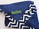 Personalized Double Minky Chevron Baby Blanket - Midnight Navy Blue