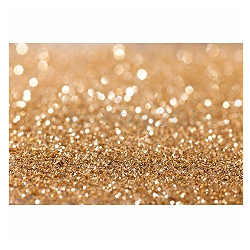 7X5ft Gold Glitter Sequin Spot Backdrop New Vinyl Cloth Less Crease Computer Printed Bokeh Party Wedding Children Newborn Photography Backgrounds Studio Prop  Updated Material