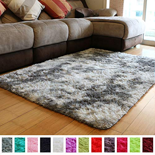 PAGISOFE Moderns Abstract Area Rugs Mats Decor Colors Rug for Bedroom Living Room Nursery Floor Fluffy Shag Rug Plush Fuzzy Shaggy Rugs (Gray and White), Multi Colored Accent Fur Rug Carpet (5' x 4') (Colored Multi Accent)