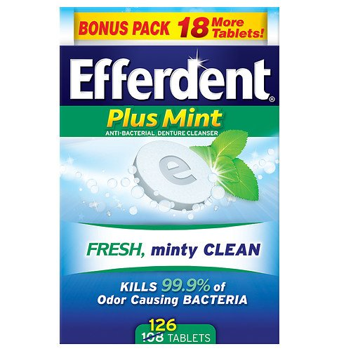 Efferdent Plus Mint Tablet Bonus 126ct, Mint 126 ea Pack of 5 - Efferdent Plus Tab