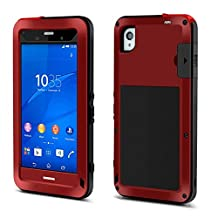 X-CASE Lovemei Heavy Aluminum Metal Armor Case with Gorilla Glass Screen Protector for Sony Xperia Z3 L55 (Red)