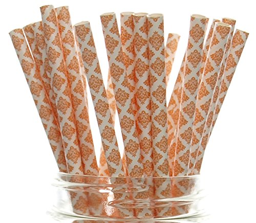 Orange Damask Floral Straws (25 Pack) - Victorian Damask Party Straw Supplies, Autumn / Fall Wedding Vintage Straws, Flower Swirl Paper Straws