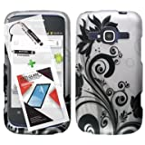 T-Mobile ZTE Concord II Case ZTE Z730 3 in 1 Bundle Rubberized Graphic Design Snap On Skin Cover Hard Case - Black Vines (Free Ultra-Sensitive Stylus Pen and Premium Screen Protector by BeautyCentral TM) by Generic
