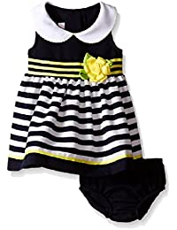 BBonnie Baby Baby Girls' Sleeveless Solid To Stripe Nautical Dress, Navy , 24M