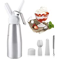 Angker Cream Foamer, Whipped Cream Dispenser with 6 Decorating Nozzles Stainless Steel and Cleaning Brush, Uses Standard N20 Cartridges (not Included)