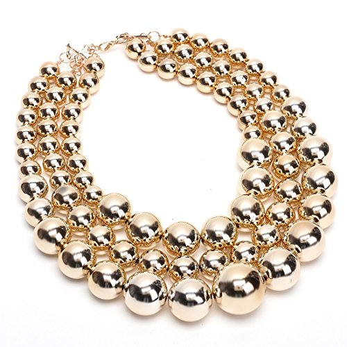 Big Resin Simulated Pearls Beads Choker Statement Bib Necklace (Resin Beads Strands)