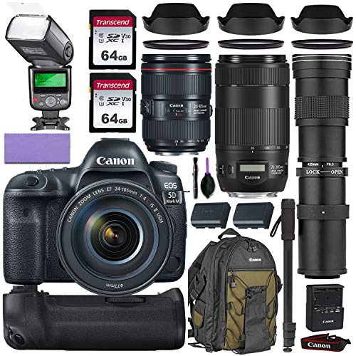 Canon EOS 5D Mark IV DSLR Camera w/Canon 24-105mm f/4L II is USM, Canon 70-300mm is II USM & Commander 420-800mm Telephoto Lens + Elegant Accessory Kit (2X 64GB Memory Card, Canon Backpack & More.)