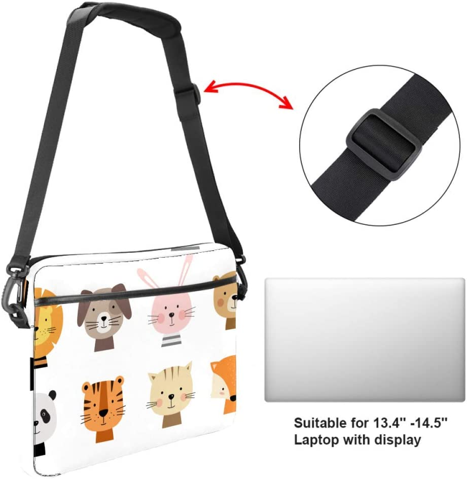Cartoon Cute Animals for Baby Card Laptop Case Canvas Pattern Briefcase Sleeve Laptop Shoulder Messenger Bag Case Sleeve for 13.4-14.5 inch Apple Laptop Briefcase