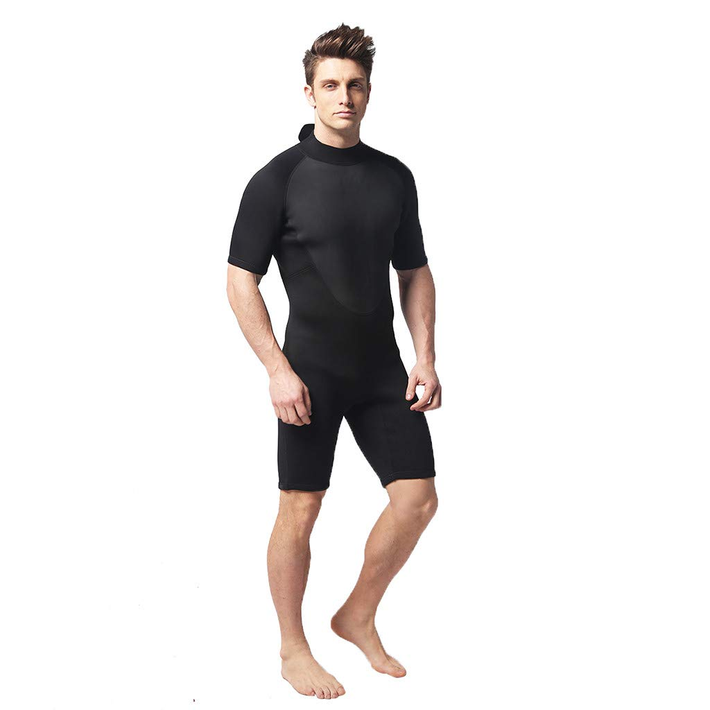 Seaintheson Men's 3 MM Neoprene Thermal Swimsuit Full Suit and Shorty Back Zip Swimsuit Wetsuit Anti UV Surfing Swimwear (Black, M)