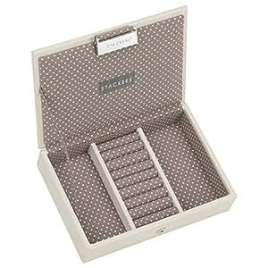 Stackers mini size | caja de la joyería organizador con tapa, de color crema con forro de punto marrón