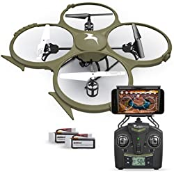 Quadcopter with Camera HD by Kolibri Discovery Delta-Recon WiFi U818A Drone Tactical Edition Military Matte Green with On-Board Recording First Person View