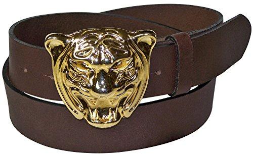 FRONHOFER Women's leather belt, gold-tone tiger belt buckle, 1.5'/4cm, Size:waist size 50 IN XXXL EU 125 cm, (Tiger Buckle)