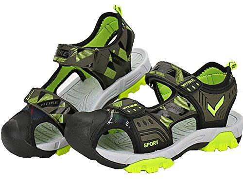 VECJUNIA Boys Adventurous Closed Toe Hook-and-Loop Sport Sandals Olive 5 M US Big Kid by VECJUNIA (Image #5)