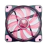 APEVIA AF512L-SPK 120mm Pink LED Ultra Silent Case Fan w/ 15 LEDs & Anti-Vibration Rubber Pads (5-pk)