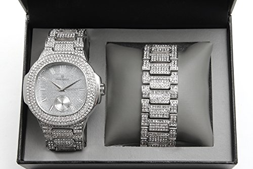 Bling-ed Out Oblong Case Metal Mens Watch w/Matching Bracelet Gift Set - 8475B - (Iced Silver Metal)