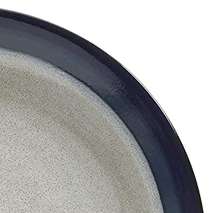 Gibson Elite Couture Bands Round Reactive Glaze Stoneware Dinnerware Set, Service for Four (16pcs), Blue and Cream