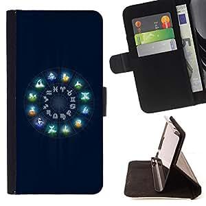 BullDog Case - FOR/Apple Iphone 6 / - / Neon Zodiac Signs Glow /- Monedero de cuero de la PU Llevar cubierta de la caja con el ID Credit Card Slots Flip funda de cuer