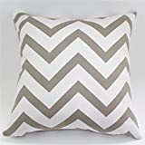 TAOSON Chevron Zig Zag Cotton Canvas Pillow Sofa Throw White Printed Cushion Cover Pillow Case with Hidden Zipper Closure Only Cover No Insert 25x 25 Inch 65x65cm-Mocha