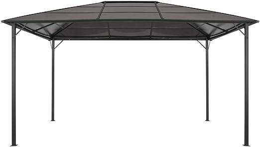 vidaXL Cenador Tejado 4x3x2,6 m Aluminio Negro Marquesina Carpa Toldo Pérgola Glorieta: Amazon.es: Hogar