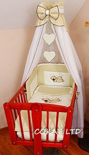 10 pcs Crib Bedding Set /Bumper/sheet/duvet/CANOPY /Free Standing Canopy Holder-DARK BEIGE (HEART) COKAY LTD