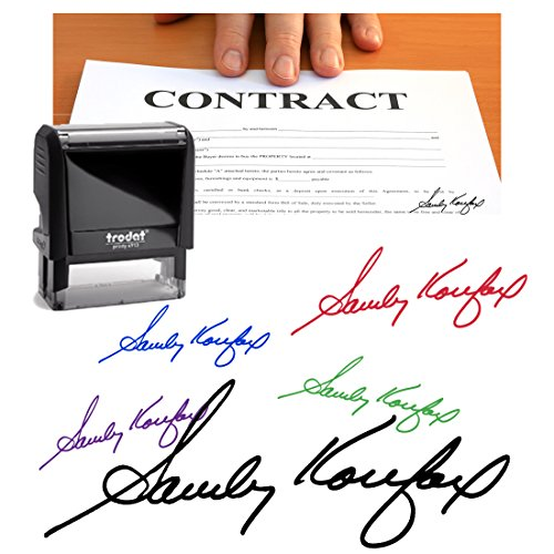 Blue Ink, Signature Stamp, Self Inking. Your Own Signature Customized into the Best Quality Stamper. Great For Regular Signing. Color Options Available. Sign Off Checks, Contracts, Certificates by Pixie Perfect Signature Stamps (Image #9)