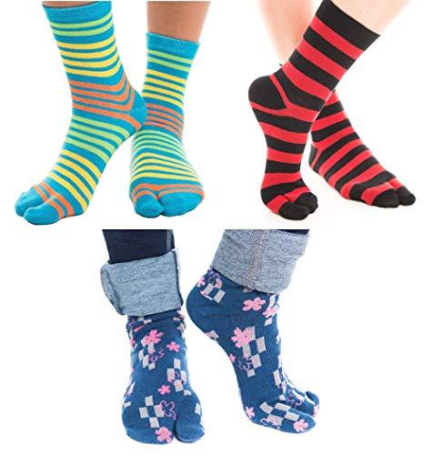 3 Pairs V-Toe Tabi Flip Flop Socks Pink, Yellow Stripes, Pink Flowers, Blue, Orange - Socks Stripe Flower