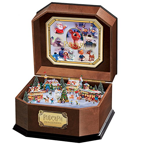 Rudolph The Red-Nosed Reindeer Music Box With Art And 3D North Pole Scene Inside by The Bradford Exchange by Bradford Exchange