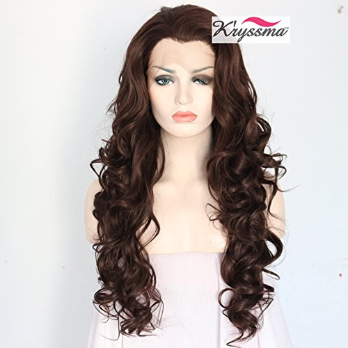K'ryssma Natural Looking Chocolate Brown Lace Front Wigs For Women Long Wavy Fashionable Glueless Synthetic Wigs With Widow's Peak Heat Resistant 24 Inches