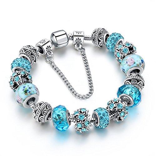 Choker Charm Bracelet Blue Crystal Beads Murano Glass Silver Chain Bracelet for Women Teen (Glass Bead Bracelet Jewelry)