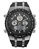 Top Plaza Men's Digital Sports Watch LED Screen Large Face Military Watches - Waterproof Casual Luminous Stopwatch Soft Black Silicone Band