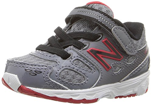 New Balance Boys' KA680 Running Shoe, Grey/Black/Red, 3 Medium US Infant