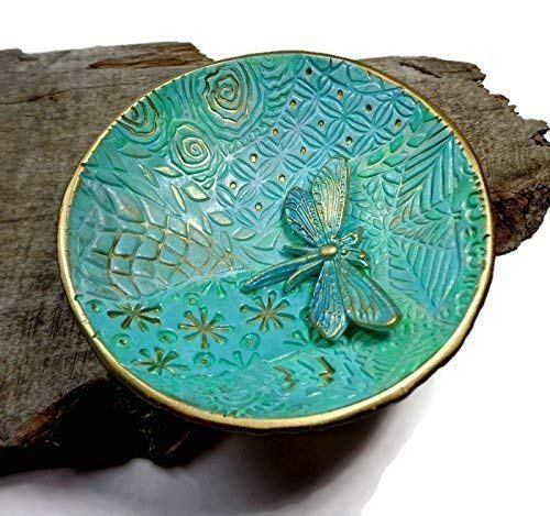 Amazon Com Turquoise Mint Dragonfly Ring Dish Handmade Jewelry