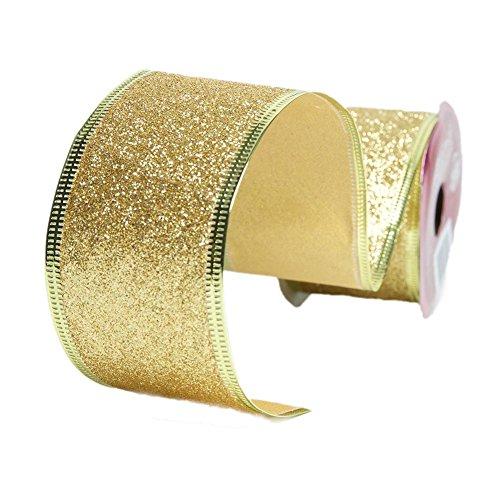 Gold Wire Edge Glitter Ribbon