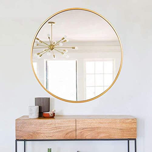 FENORI 27.56 Inch Large Round Wall Mirror-Contemporary Circle Mirror for Accent Bedroom Living Room Entryway,Metal Gold Frame Mirror
