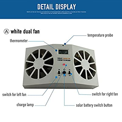 Ocamo upgraded solar fan, Solar Powered Car Window Air Vent Ventilator Cooling Fan, White ( Temperature Display + Two Power Supply Modes + Bigger Solar Panels)