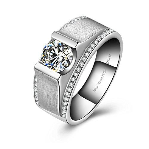 Mini World 1 Carat G H color NSCD synthetic diamond wedding Ring for Men engagement ring for men(9) (Diamond Engagement Rings For Men compare prices)