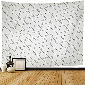 Ahawoso Tapestry Wall Hanging 80x60 Lines Trippy Abstract Geometric Black White Hipster Grid Pattern Checkered Cool Crazy Creative Home Decor Tapestries Decorative Bedroom Living Room Dorm