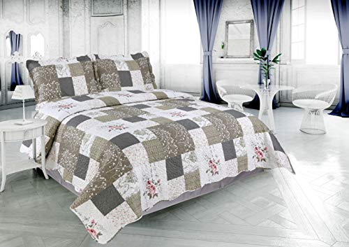 f1466b27b5291 Dream Bedding Pinsonic 3 Piece Reversible Quilt Set with 2 Pillow Shams,  Queen Size, Rose & Branch Plaid Pattern