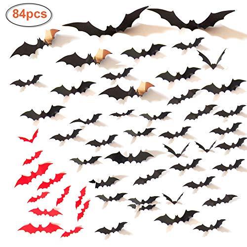 Halloween 3D Bat Wall Decal Sticker, Halloween Eve Party Supplies Decoration Decor, Home Window Decoration Décor Set (72PCS Black + 12PCS Red) -