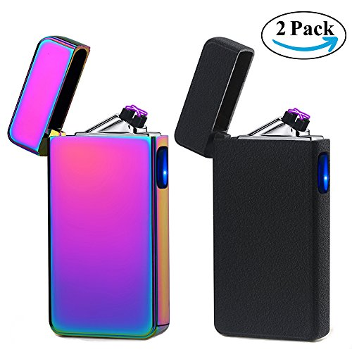 USB Lighter 2 Pack,Dual Arc Electric Plasma Lighter Rechargeable Flameless Metal Lighter Windproof Pulse Flip Lighter for Cigar,Cigarette,Candle,Camping (Magic & Matte Black)