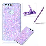 Rubber TPU Case For Huawei Honor 8,Herzzer Slim Lightweight Color Changing Glittering Luxury Unique [Red Sequins] Bling Shiny Sparkle Soft Silicone Gel Clear Bumper Frame Cover for Huawei Honor 8