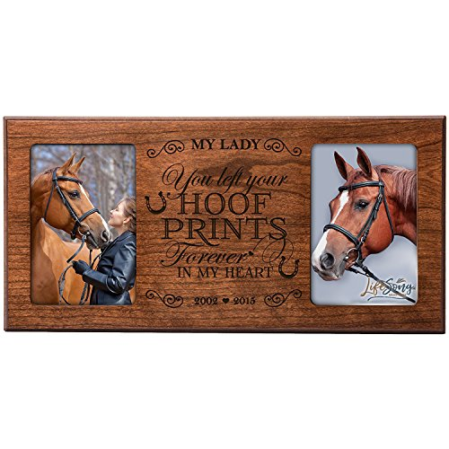 LifeSong Milestones Personalized Pet Memorial Gift,Horse Sympathy Photo Frame, You Left Hoof Prints Forever in My Heart, Custom Frame USA Made Holds Two 4x6 Photos (Cherry)