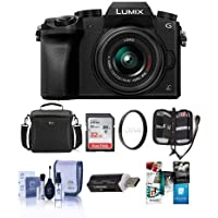 Panasonic Lumix DMC-G7 Mirrorless Micro Four Thirds Camera with 14-42mm Lens, Black - Bundle with Camera Case, 32GB SDHC Card, Cleaning Kit, Memory Wallet, Card Reader, 46mm UV Filter, Software Pack